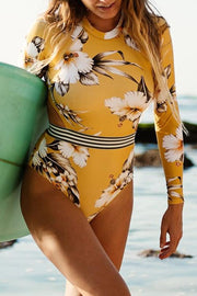 Long-Sleeved Yellow Print Cutout Surfing Suit