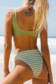 Stripe High Waist Scoop Back Bikini