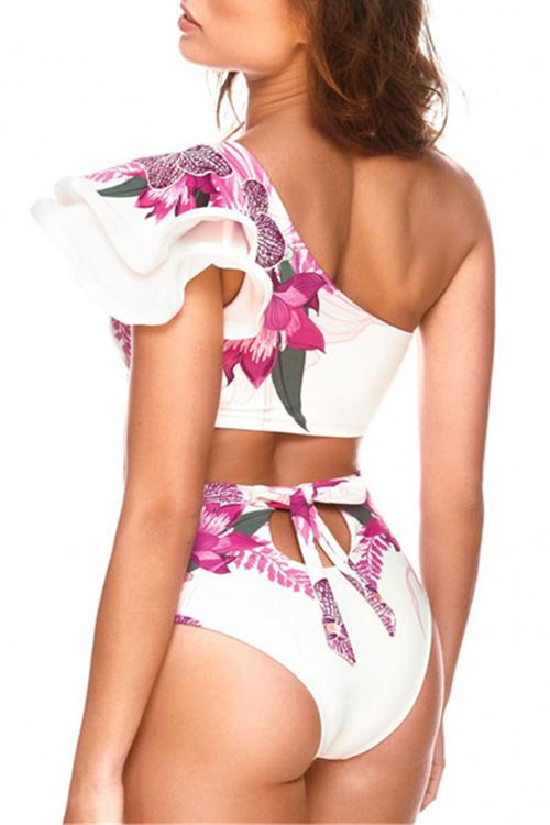 One Shoulder Floral Print Bikini