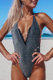 V-Neck Lace Panel Sequined One-Piece
