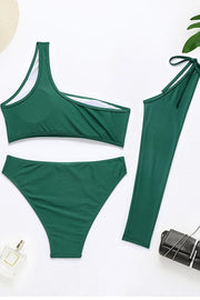 One Shoulder High Waist Three Piece Bikini