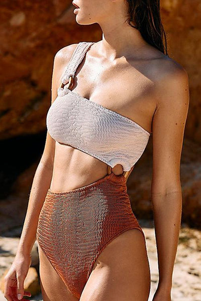 One Shoulder Knitted Contrast One Piece