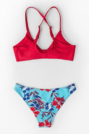 Red And Floral Print Low-Waisted Bikini