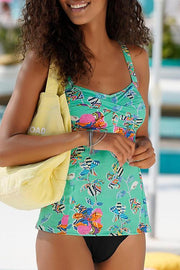 Floral Print Chest Cross Tankini
