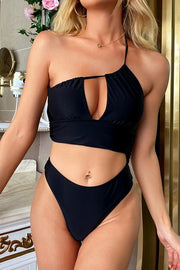 One Shoulder Hollow One Piece