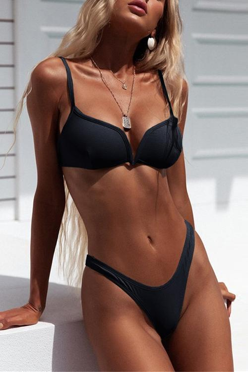 Ribbed V Wire Push Up Thong Bikini