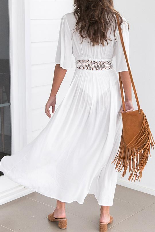 Crochet Trim Long Tunic