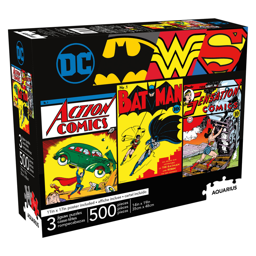 DC Comics - 3 Puzzles in One 500 piece Jigsaw Puzzle Aquarius