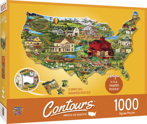 Contours - United States Shaped 1000 piece Jigsaw Puzzle Masterpieces