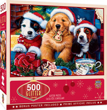 Load image into Gallery viewer, Holiday Glitter - Santa Paws 500 piece Jigsaw Puzzle Masterpieces