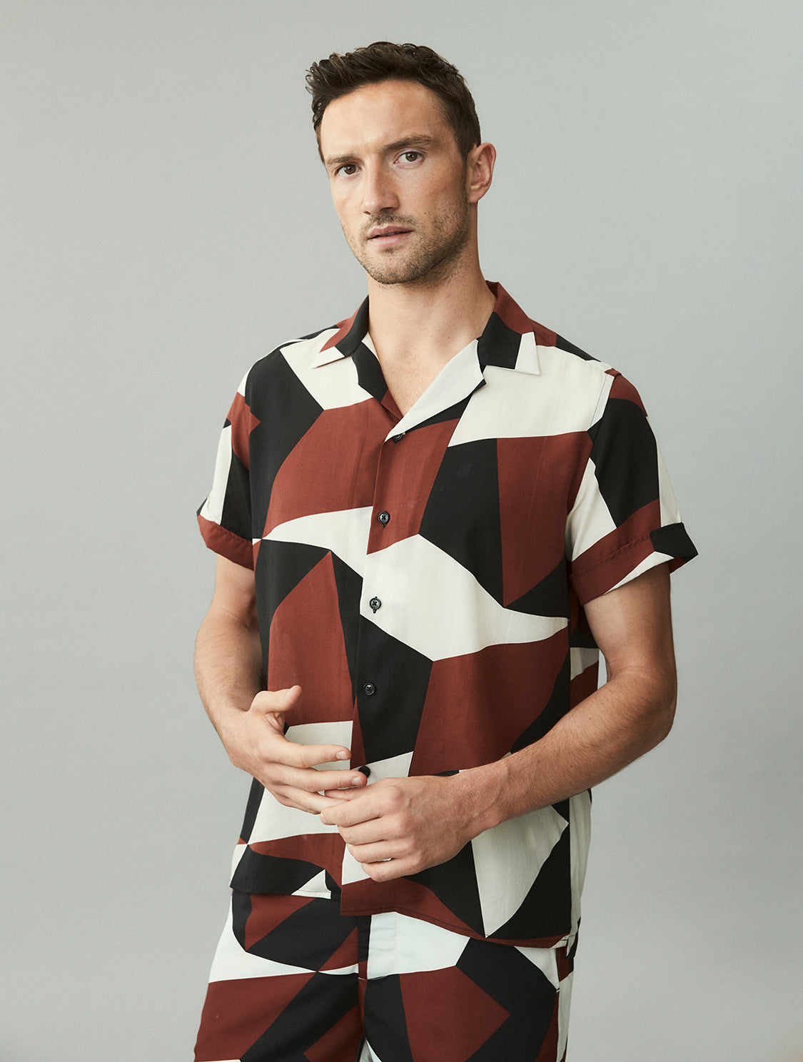 Modernist Print Tencel Shirt