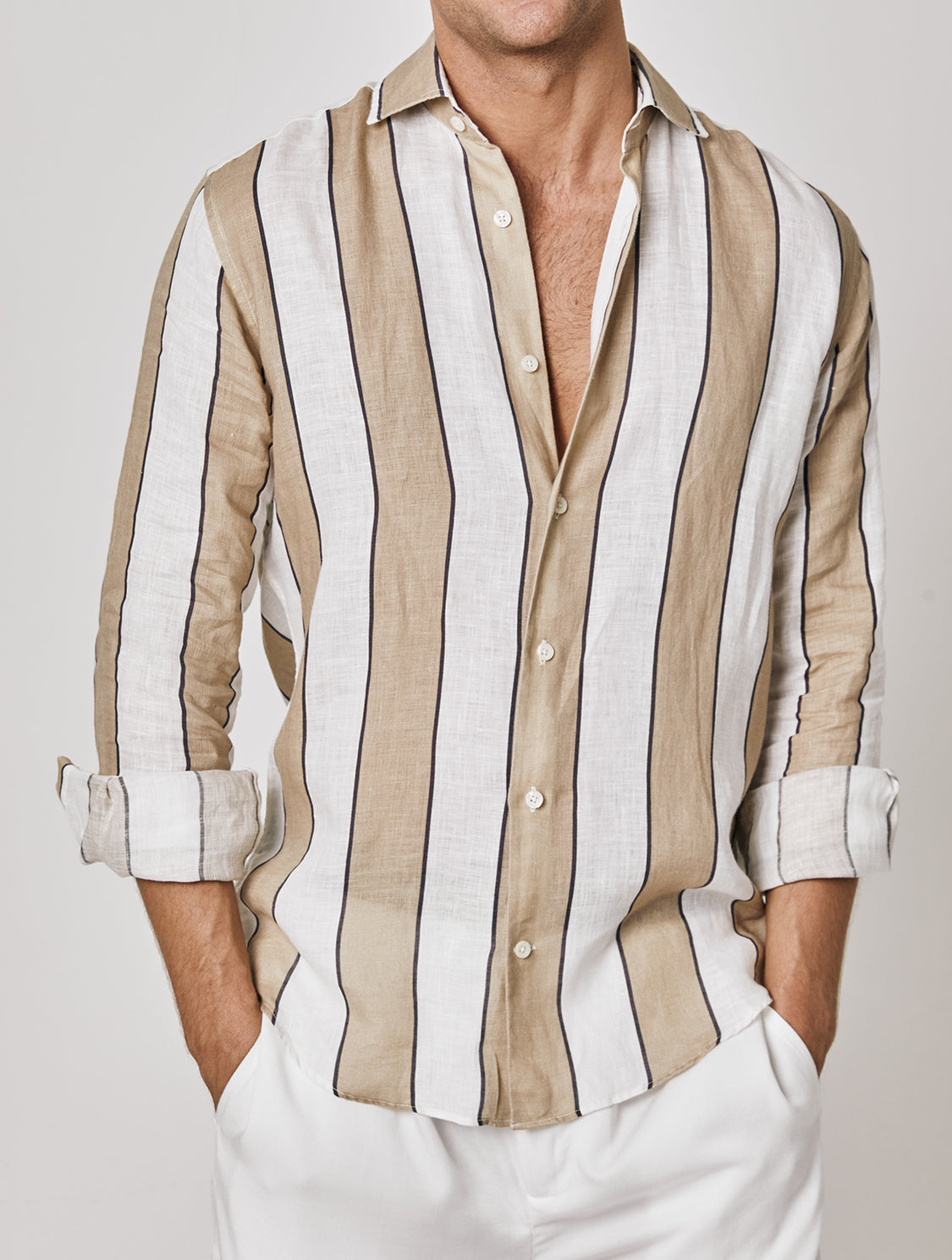 Wide-Stripe Linen Shirt