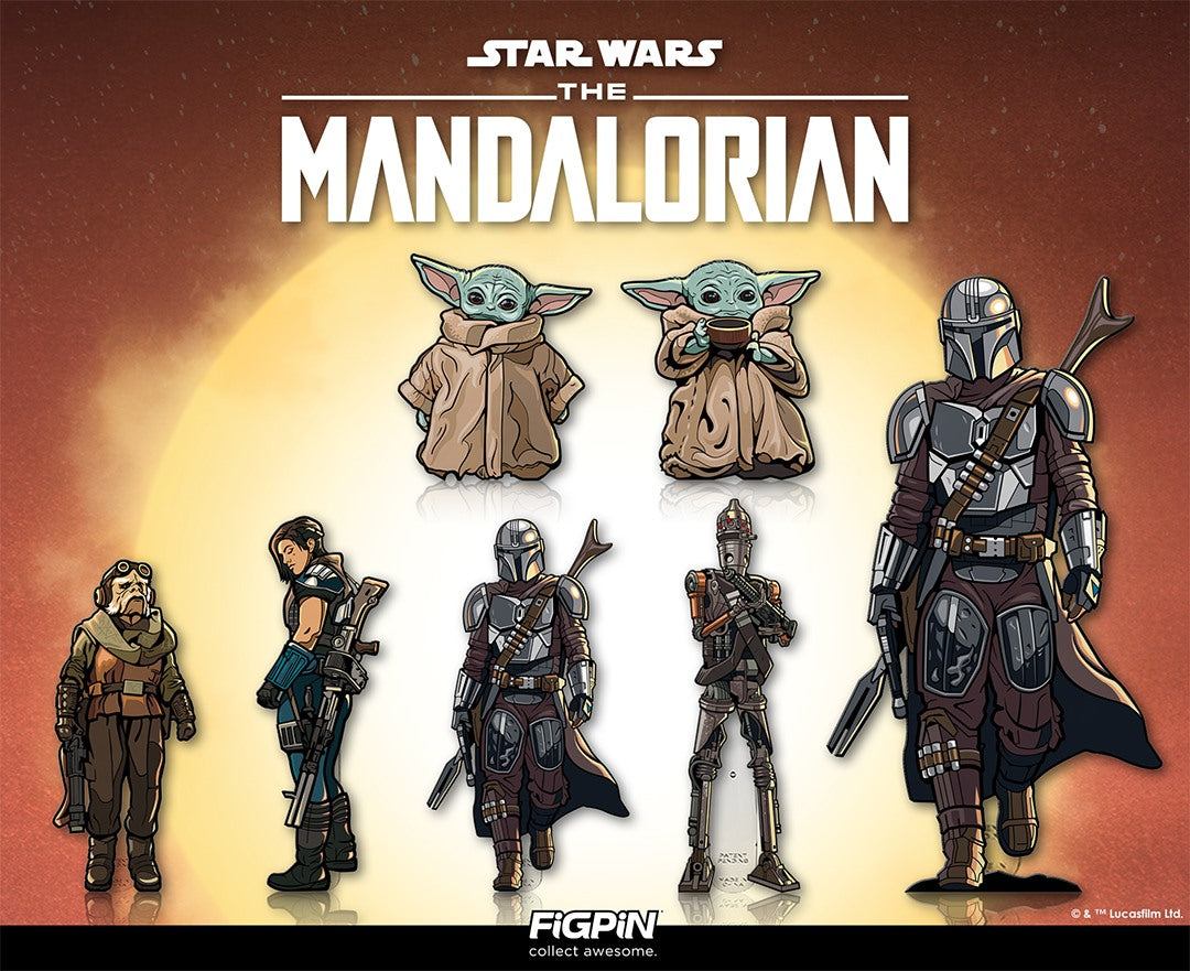 Star Wars: The Mandalorian Bundle of 7 FiGPiN Classic Enamel Pins (Includes XL The Mandalorian)