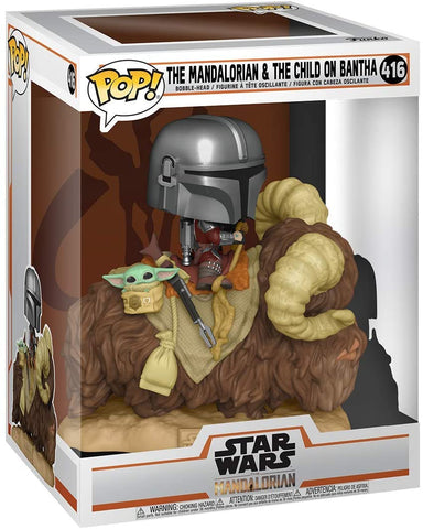 Funko Pop! Deluxe: Mandalorian - Mandalorian on Bantha with Child in Bag