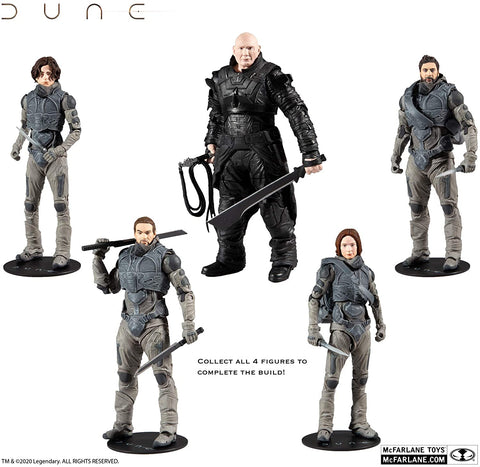McFarlane Toys Dune 7-inch Action Figure with Build-A Glossu 'Beast' Rabban Figure Parts Wave Set of 4