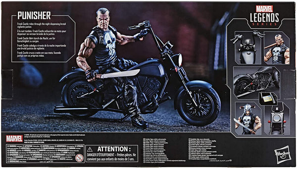 Hasbro Marvel Legends Series 6-inch Collectible Action Figure The Punisher Toy and Motorcycle, Premium Design and 7 Accessories