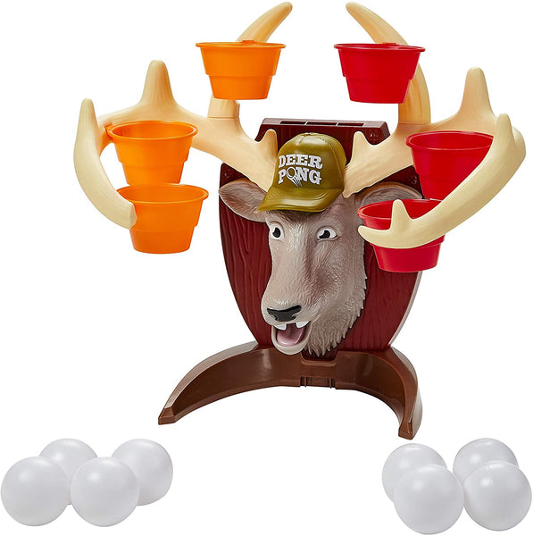 Deer Pong Game, Features Talking Deer Head and Music, Includes 6 Party Cups and 8 Balls, Fun Family Game for Ages 8 and Up