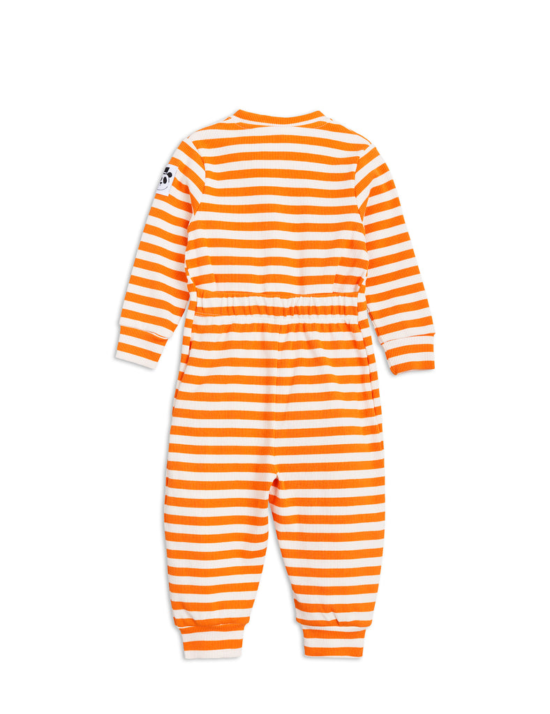 Stripe rib jumpsuit-orange