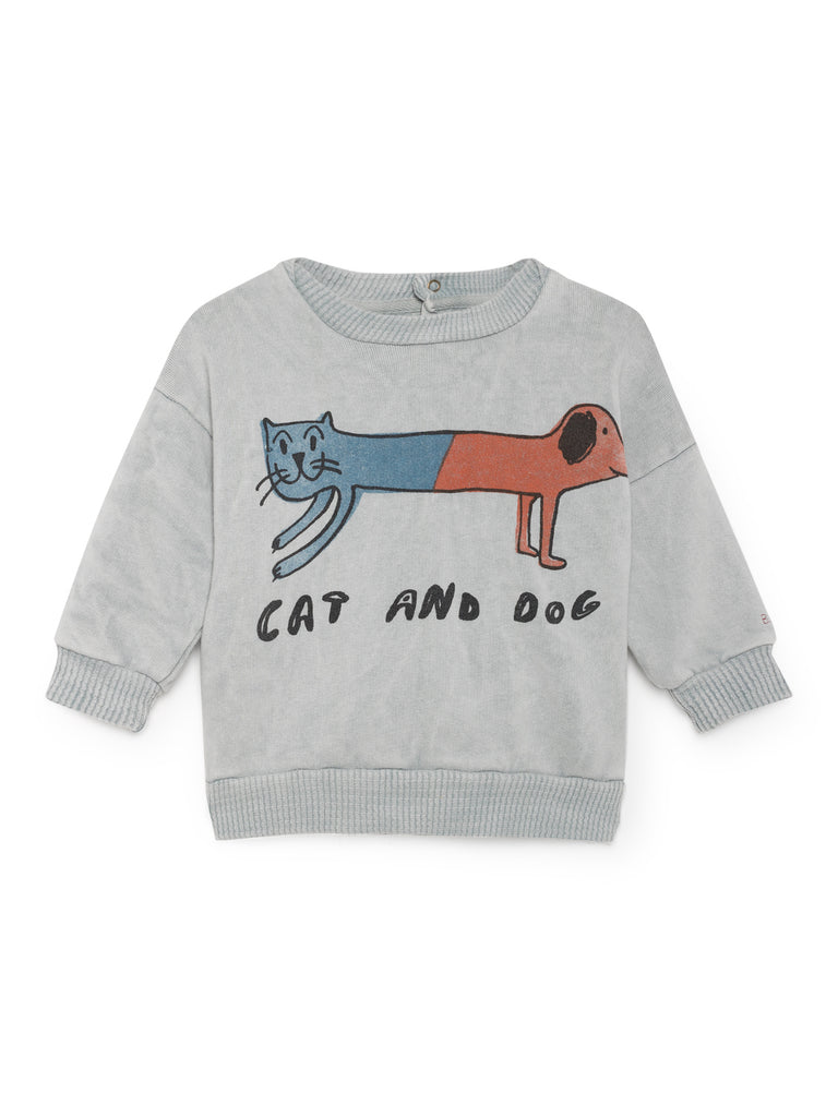 Cat and dog round neck sweatshirt