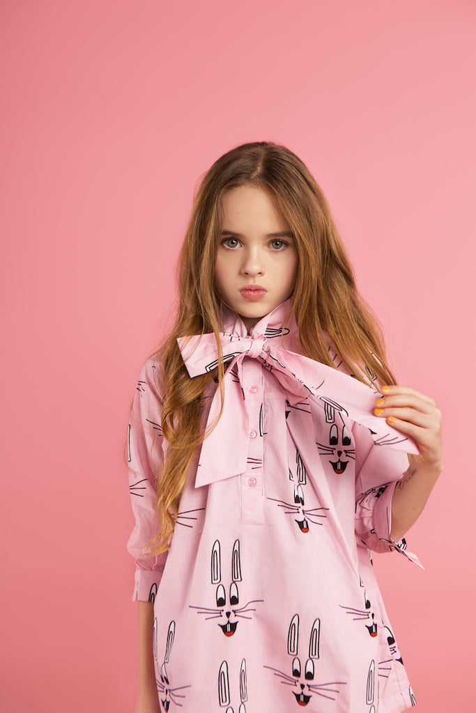 Pink bunny bow dress