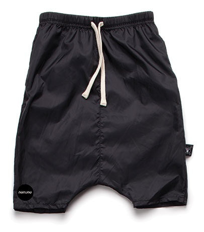 Nylon low crotch baggy shorts