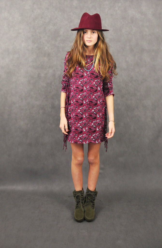 Bibi dress - burgundy paisley