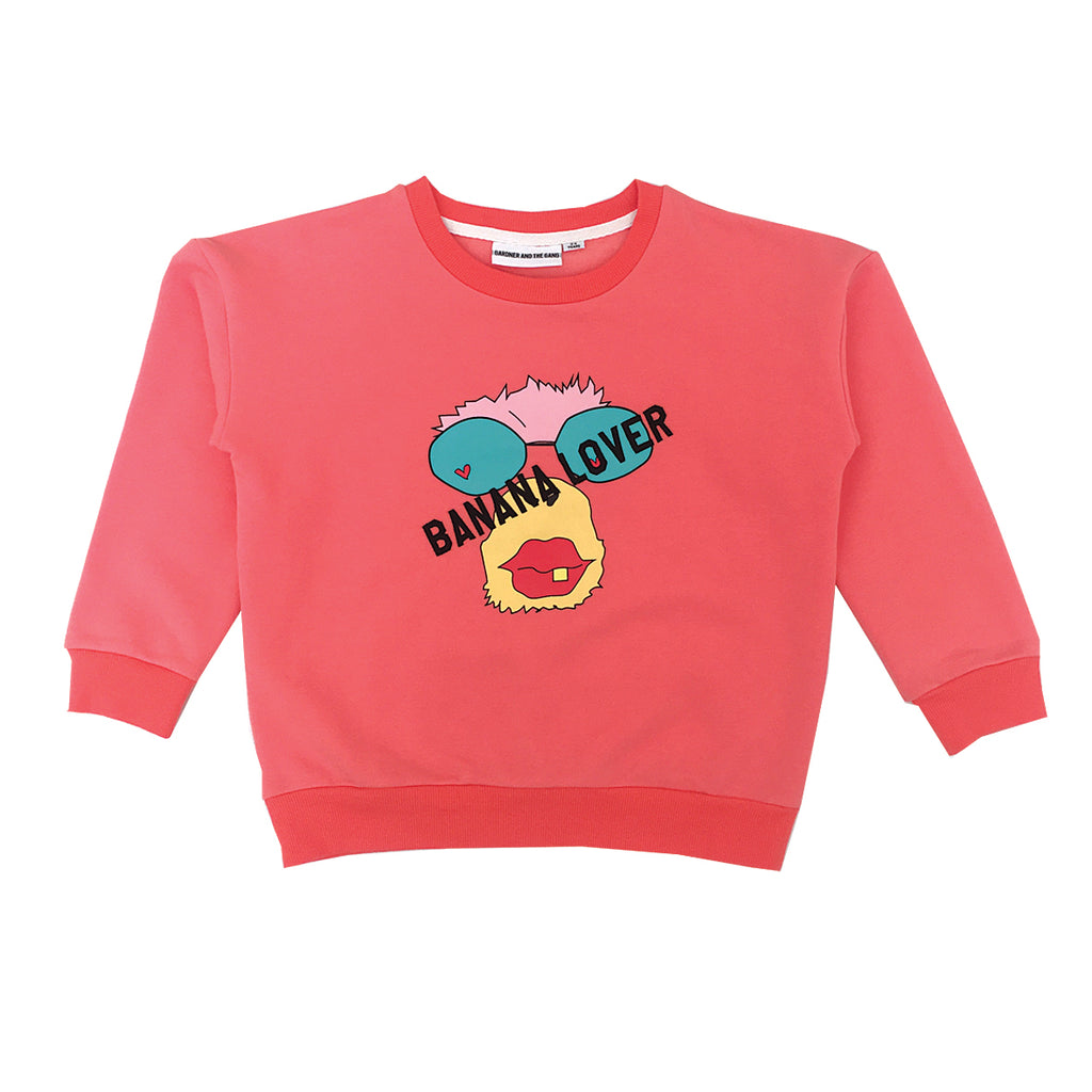 Banana lover monkey sweatshirt -red