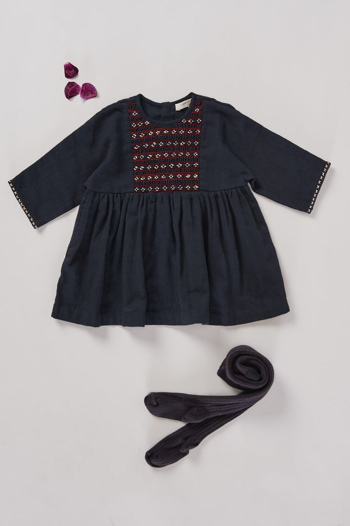 New Malachite baby dress - Navy
