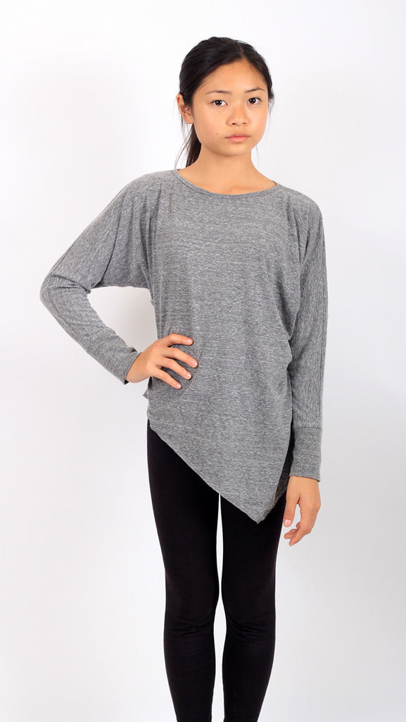 Edgy dolman tee - heather grey