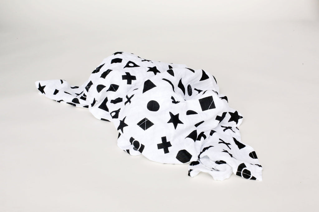 Organic Cotton Muslin Swaddle Blanket - SHAPES
