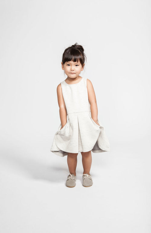 Pleated dress with apron - heather beige