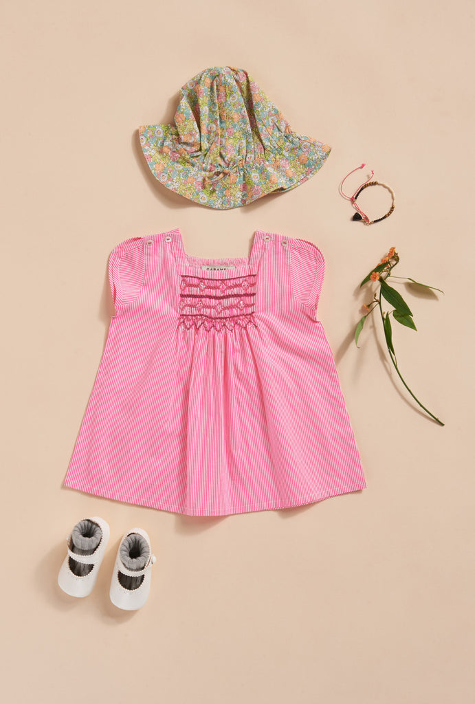 Luffa baby dress - pink stripe