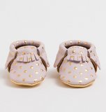Petite heirloom blush & gold crib moccasin