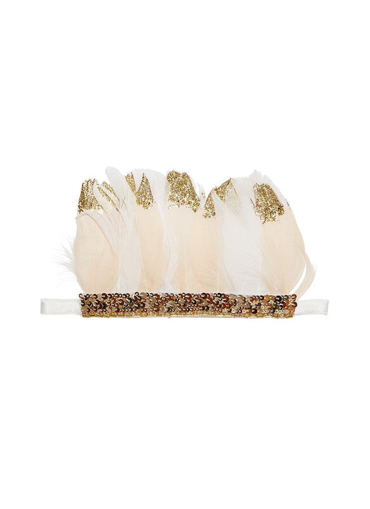 Swan dancer feather headband biscotti/gold