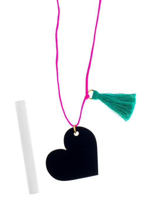 Chalkboard heart necklace (includes chalk)