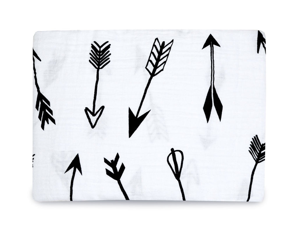 Organic cotton muslin swaddle blanket - arrows