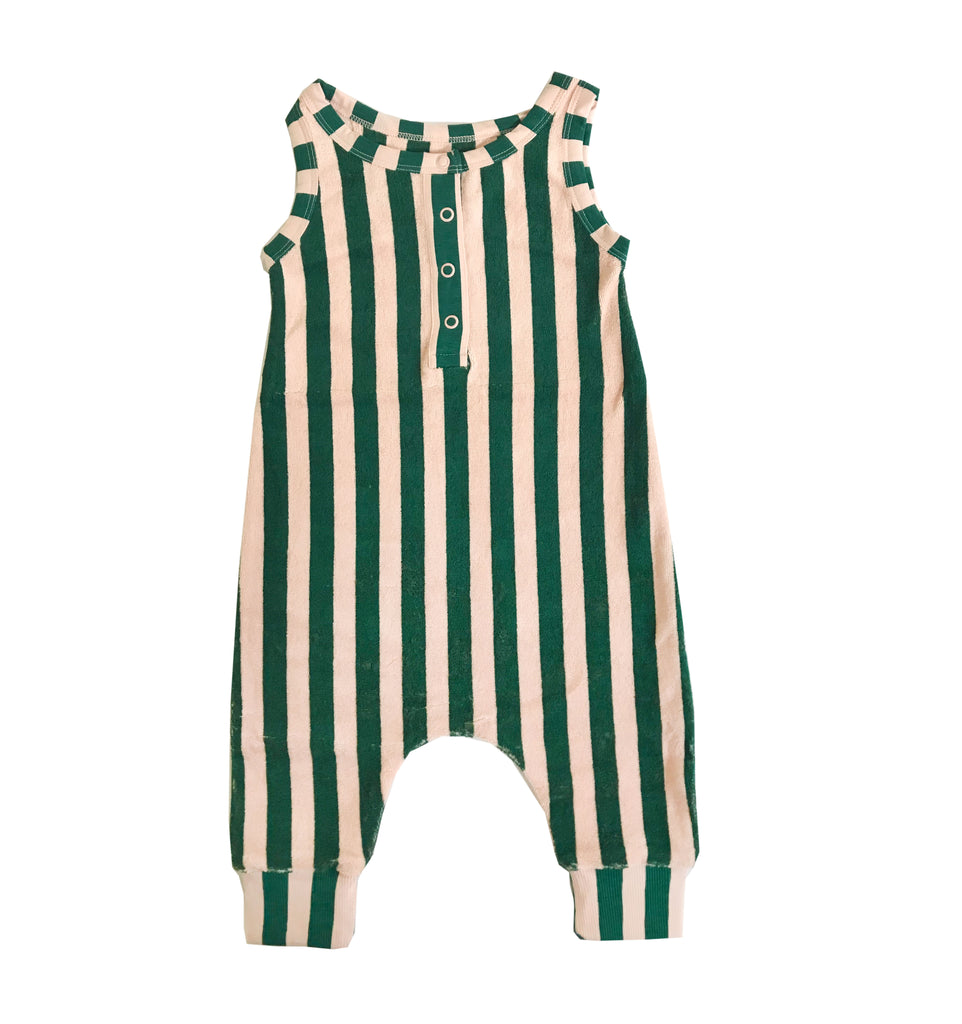 terry long leg romper - beverly stripe