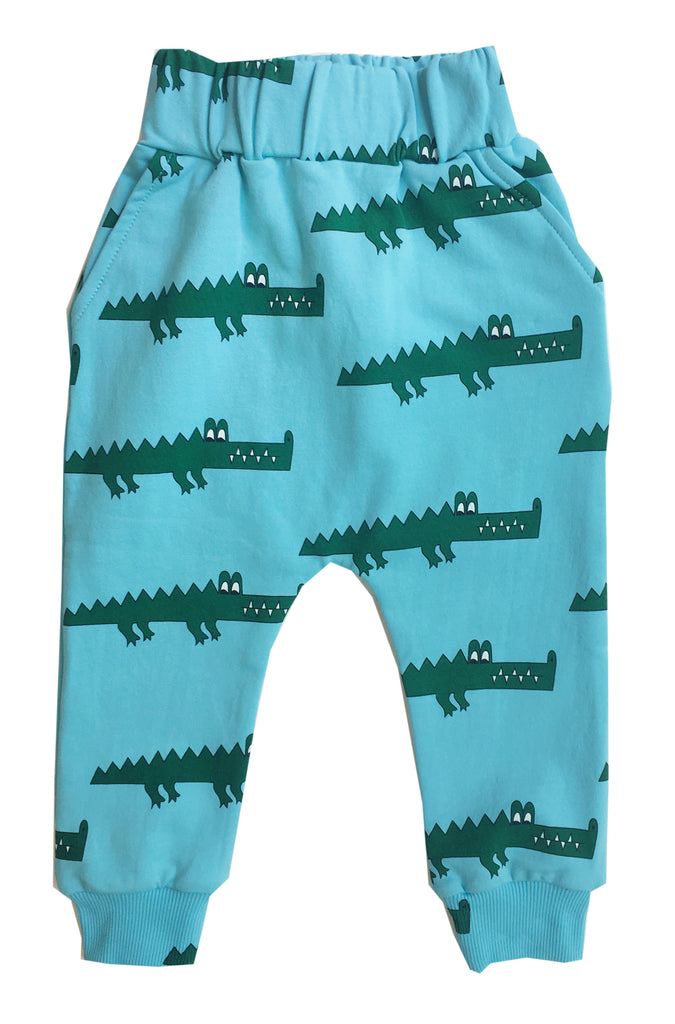 Blue crocodile drop crotch sweat pants