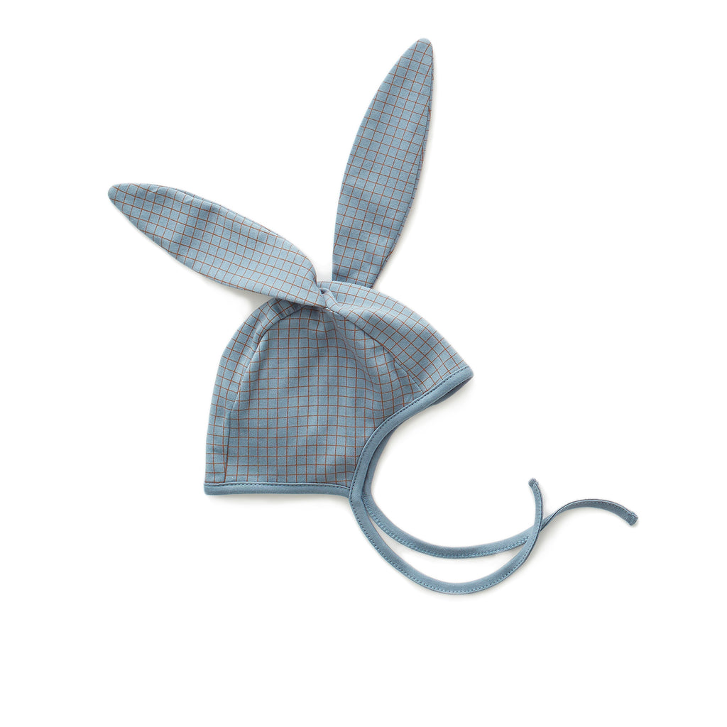 Bunny hat - citadel blue/hazelnut checks
