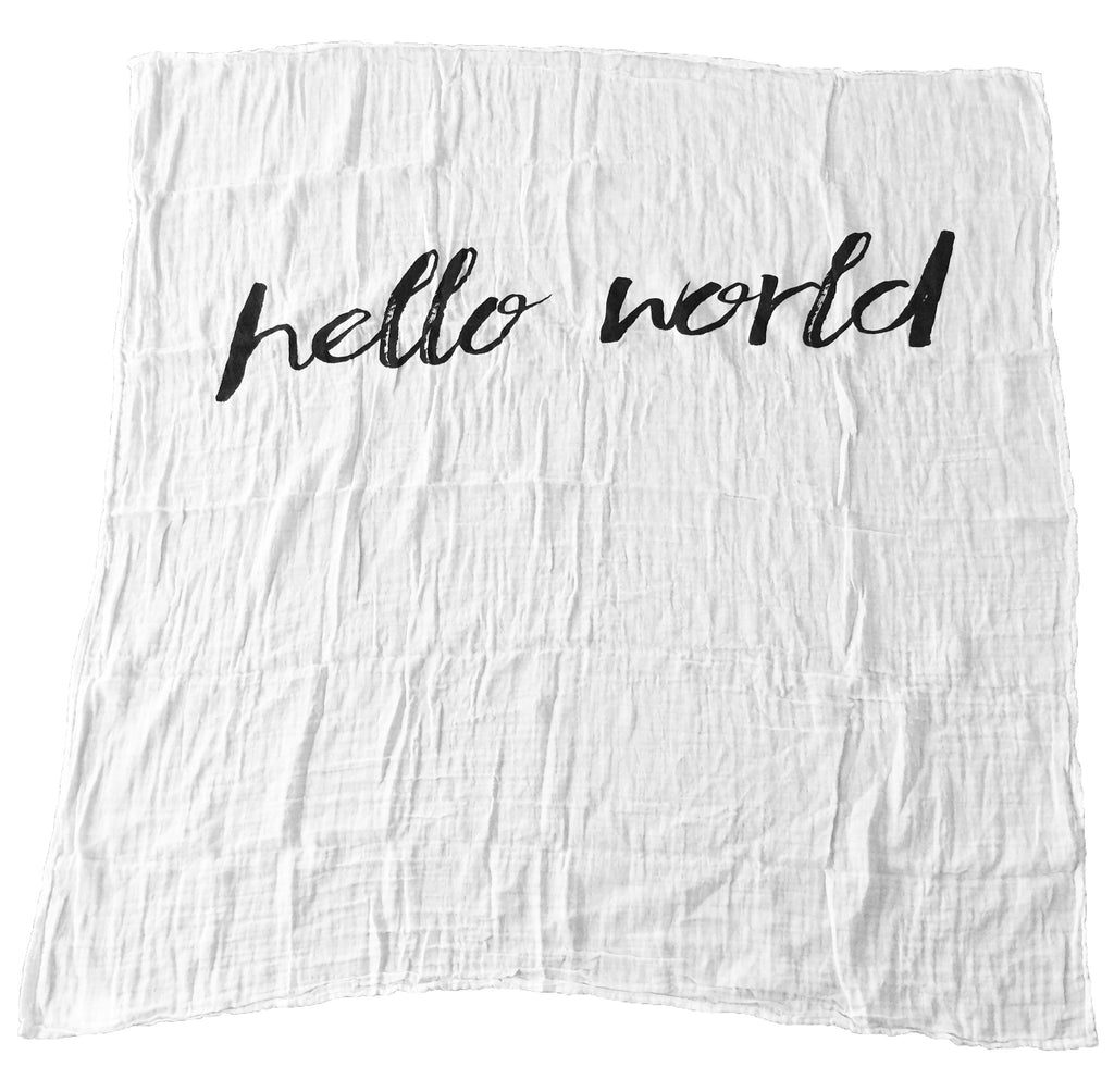 Organic cotton muslin swaddle - hello world