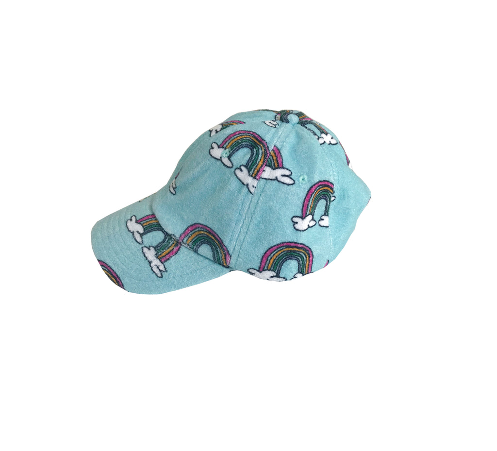 kid terry hat - blue rainbow