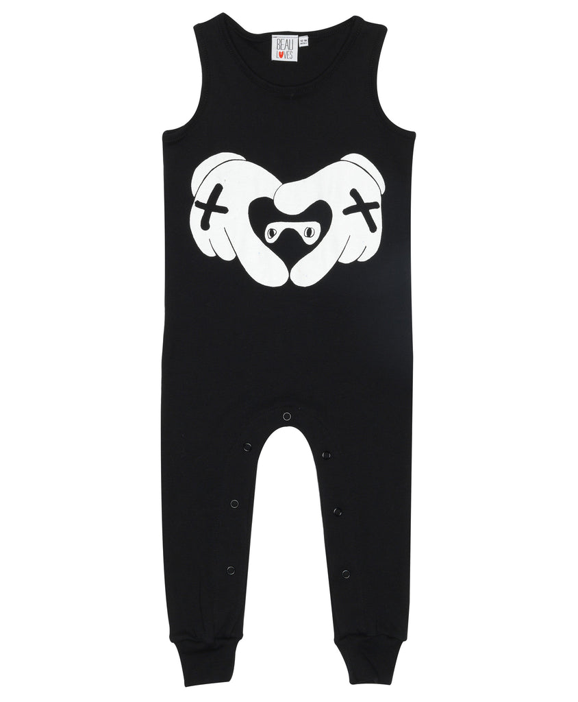 Sleeveless romper suit - inky black