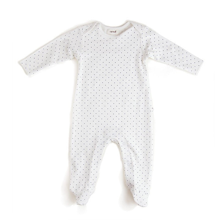 Footie jumper - white/indigo dots