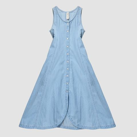 Tilly sleeveless button through maxi -denim