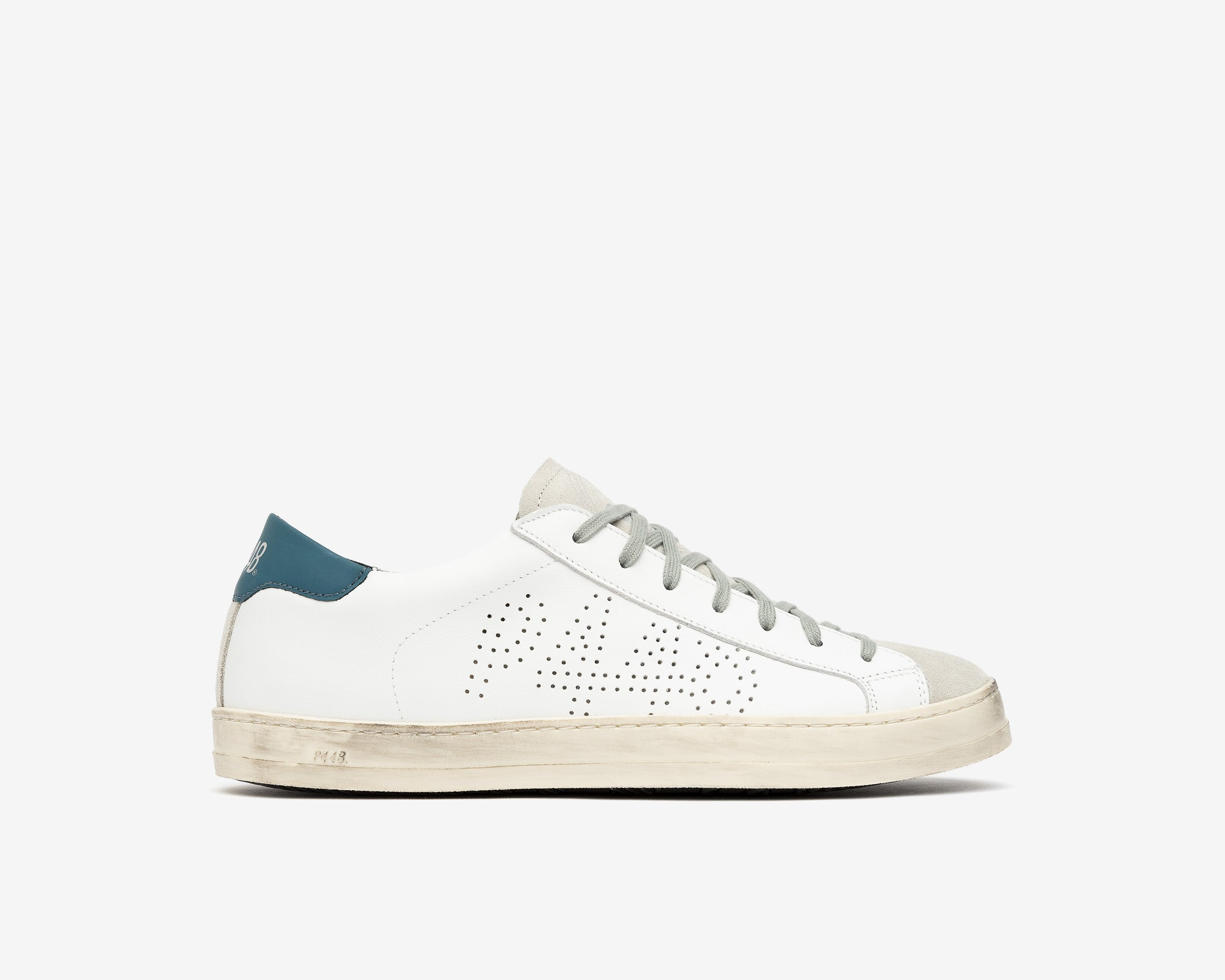John Low-Top Sneaker in White/Green - Profile