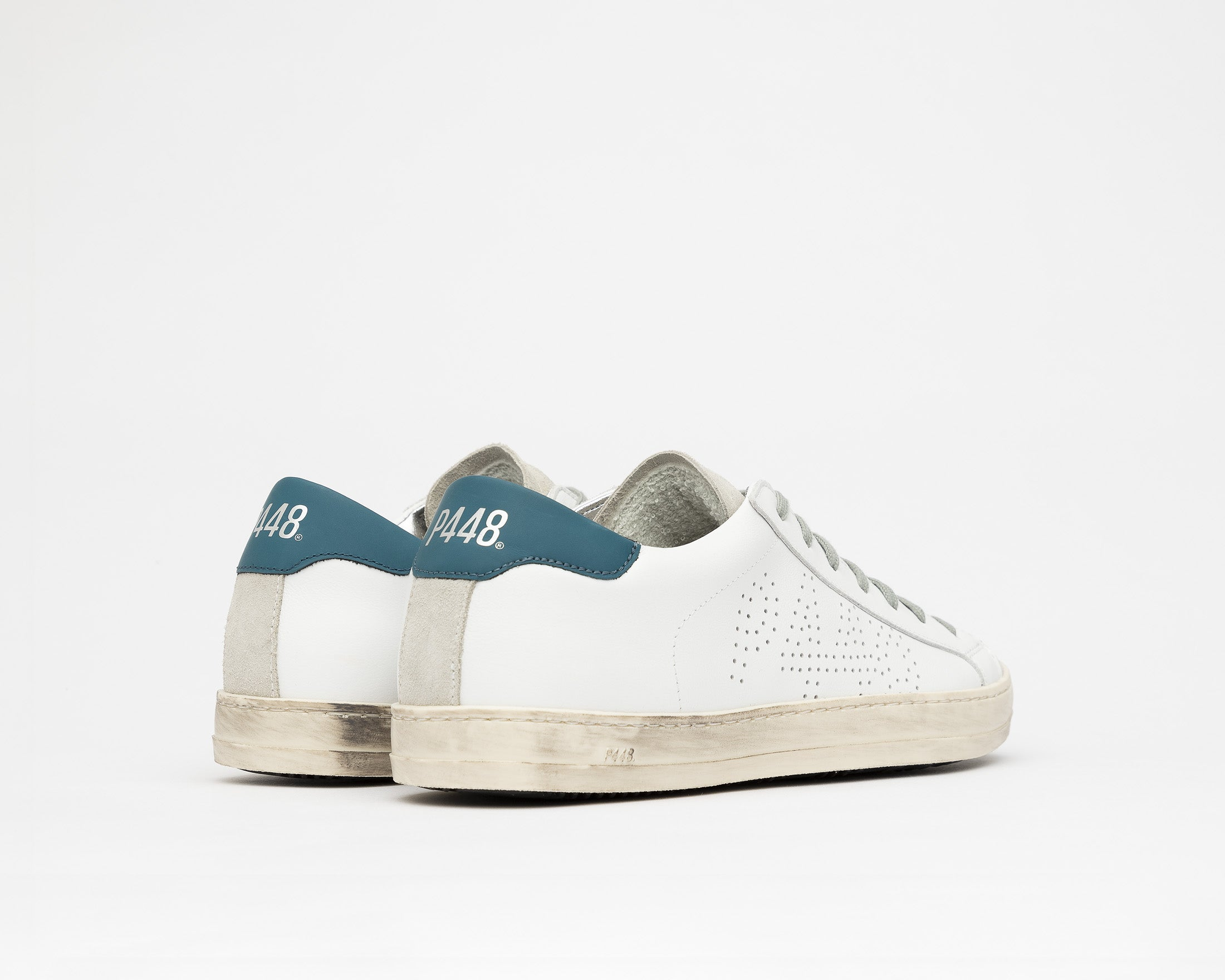 John Low-Top Sneaker in White/Green - Back