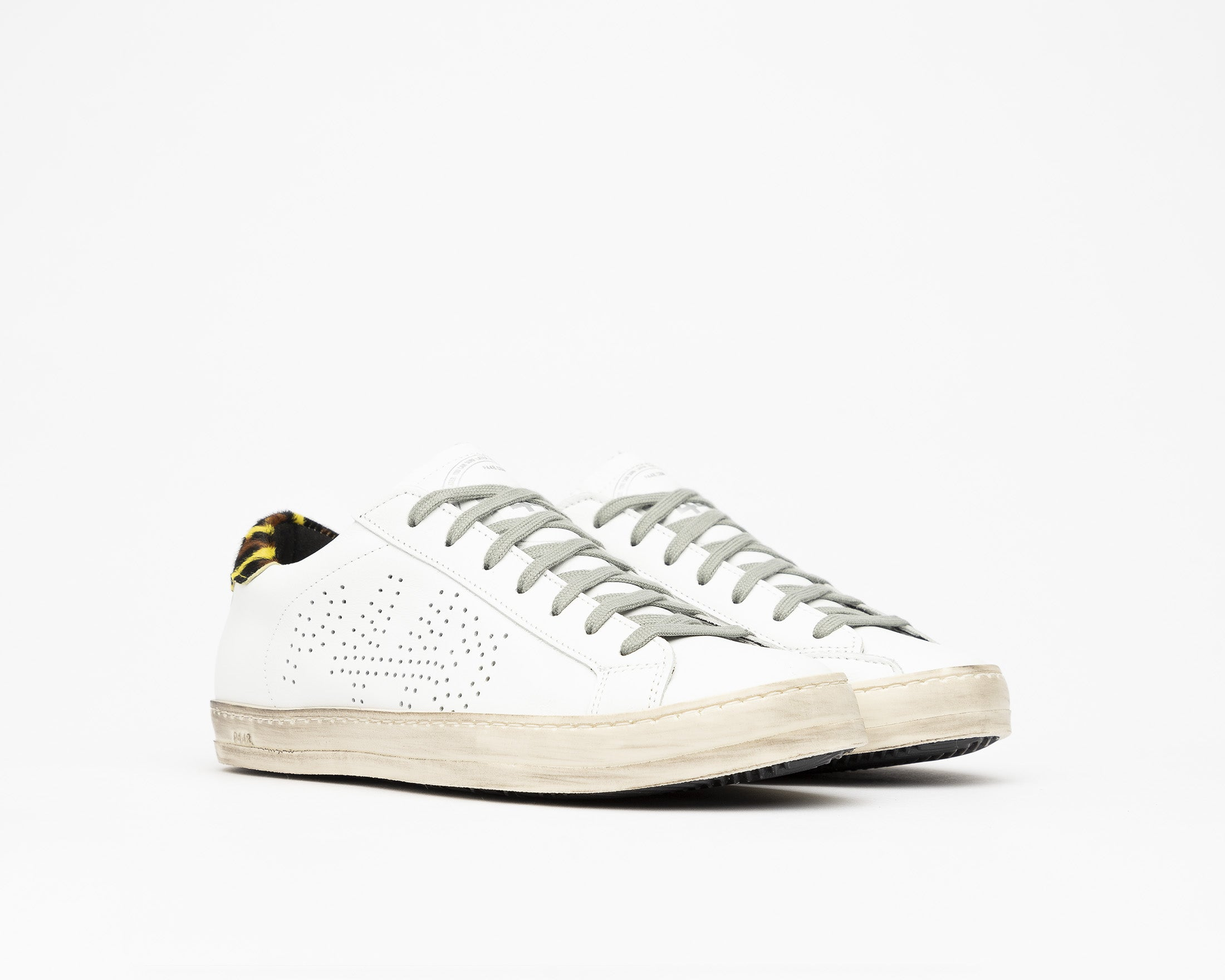 John Low-Top Sneaker in White/Cleo Yellow - Side
