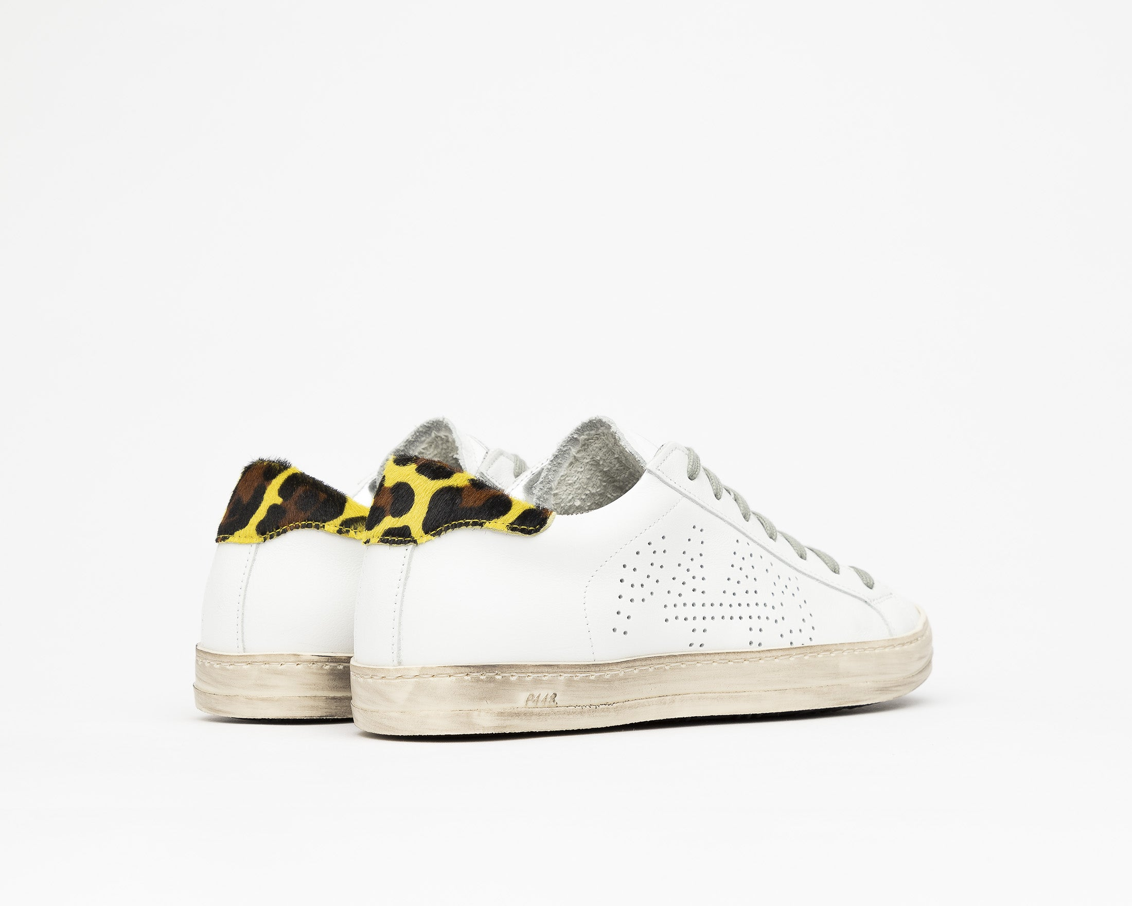 John Low-Top Sneaker in White/Cleo Yellow - Back
