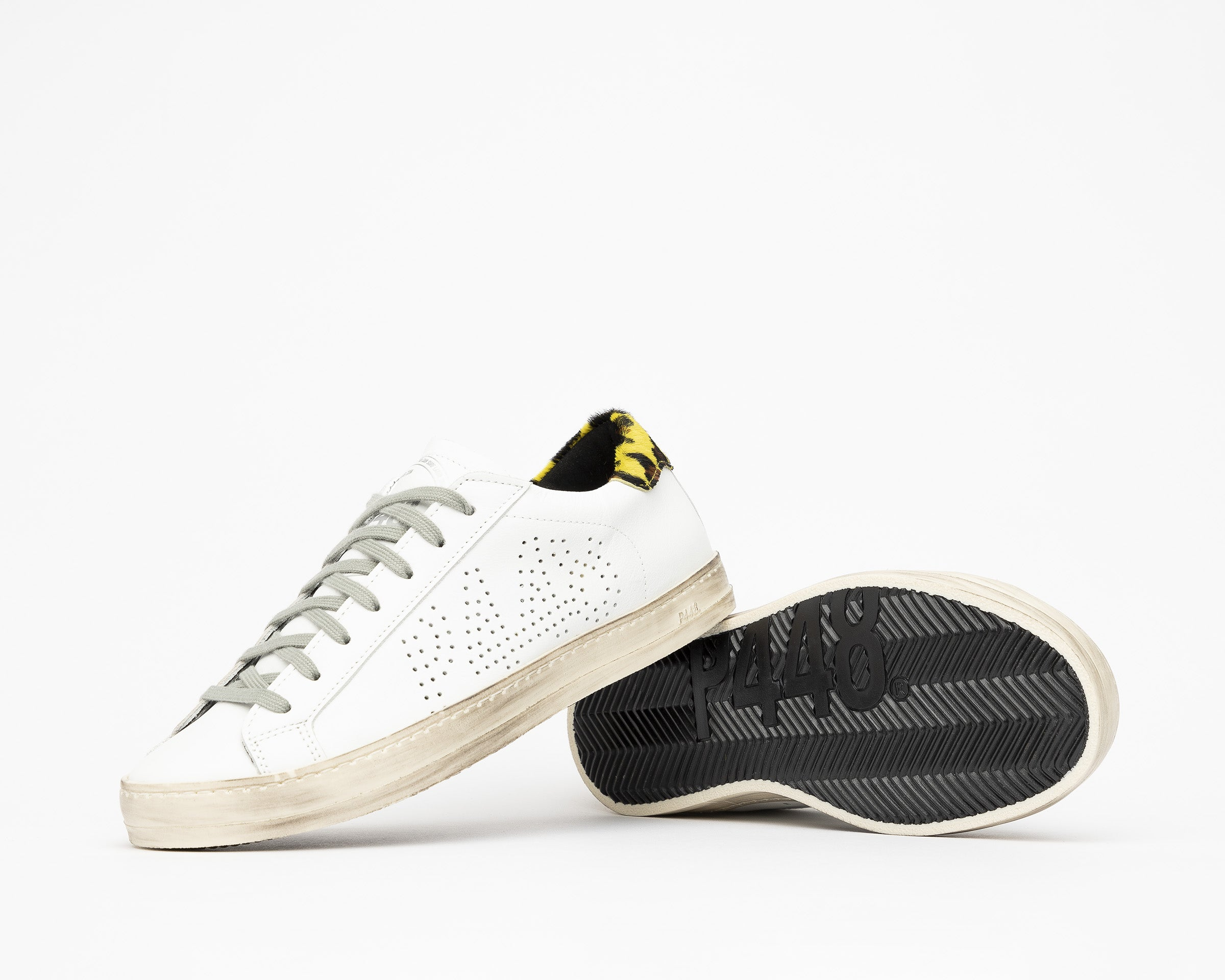John Low-Top Sneaker in White/Cleo Yellow - Detail 1