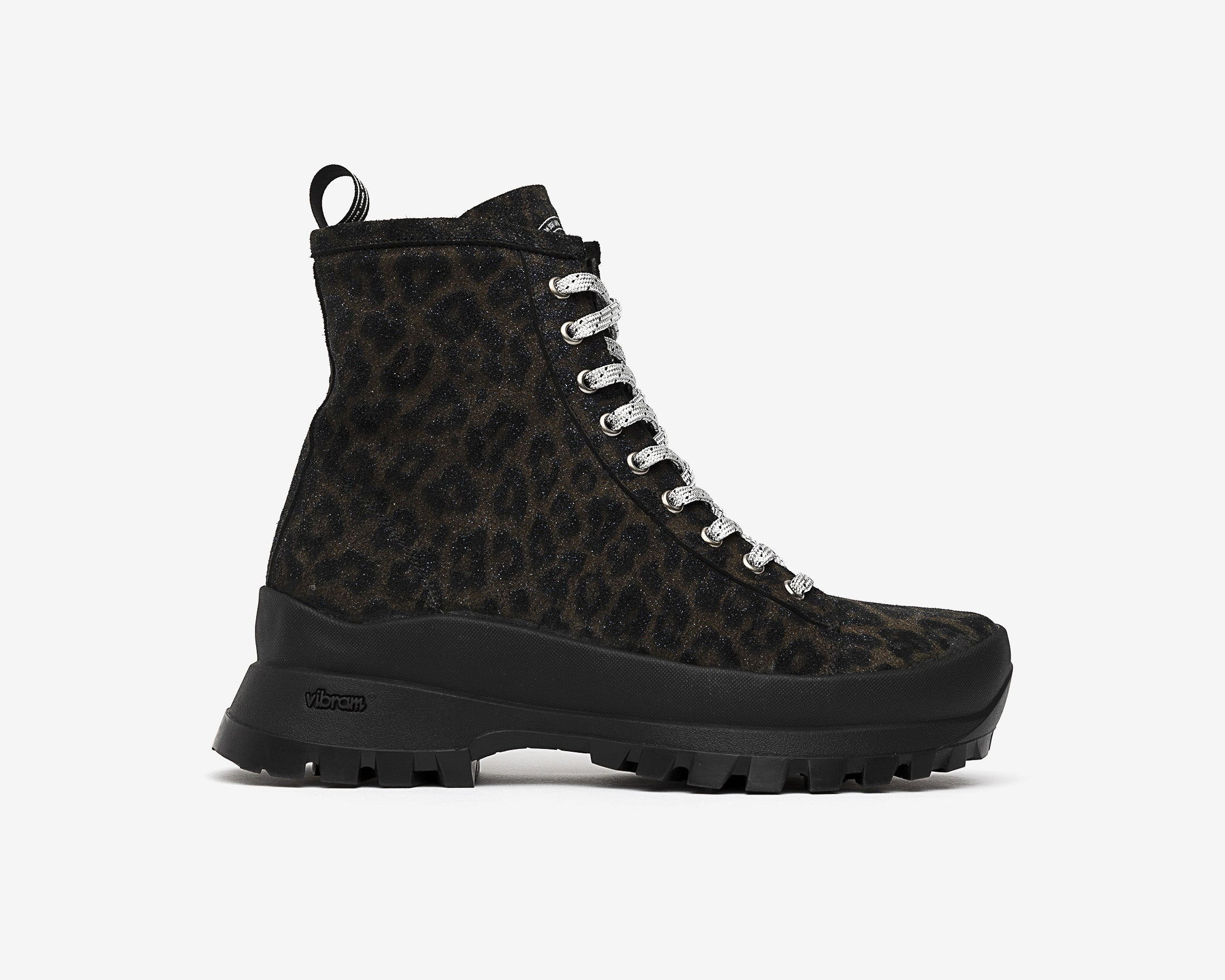 Denise Combat Boot with Vibram bottom in Black Leopard - Profile